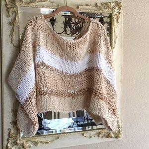 Free People One chunky shawl.Cream/white/gold. M/L